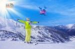 Андорра. Лыжница на фоне гор